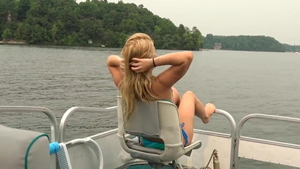 Skinny teen Lilly Ford homemade creampied on the boat