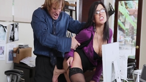 Teen Eva Angelina group sex in office