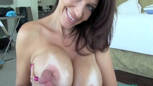 Receiving facial along with amazing mature Charlee Chase