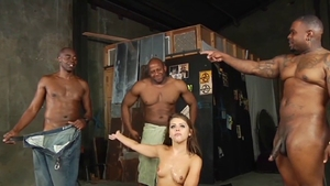 Gangbang in the company of muscle brunette Adriana Chechik