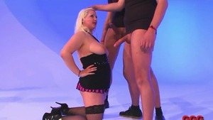Shaved blonde hair in high heels extreme gangbang rimming HD