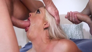 Busty housewife Holly Heart receives orgy