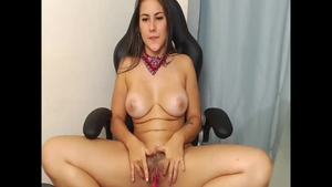 Girl colombian Jean Val Jean homemade toys action live on cam
