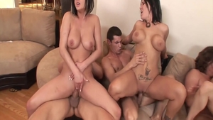 Lindsey Meadows in tandem with babe Claire Dames sucking cock