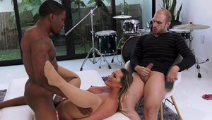 Large tits housewife Cali Carter fetish threesome