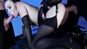 Small tits doll Tiffany Doll in lingerie BDSM threesome