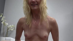 Small tits blonde blowjobs at casting in HD