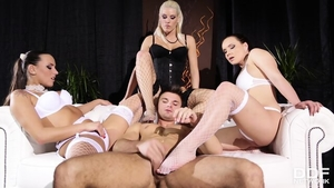 Humiliation starring glamour brunette in lingerie