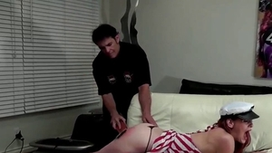 Submissive spanking along with kinky redhead