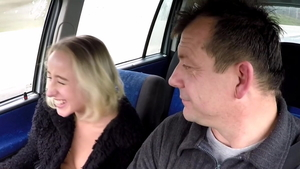 European blonde fucking for money in a taxi