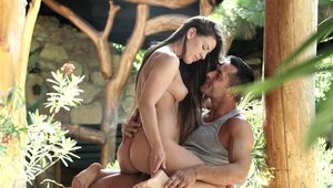 Hard sex accompanied by young brunette Athina Love outdoors