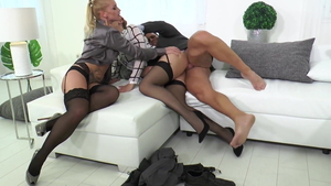 Rough group sex accompanied by blonde Shona River