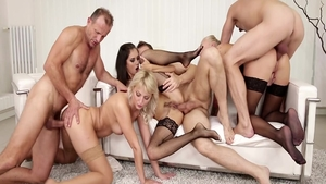 Young swinger Katy Rose gets a buzz out of orgy