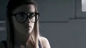 Young teen Jane Wilde in glasses rough double penetration