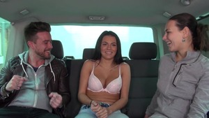 Very cute Mea Melone & Wendy Moon group sex in a car