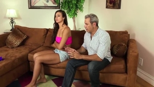 Very slim brunette has a thing for hard sex HD
