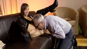 Tina Hot in boots interracial sex on the couch