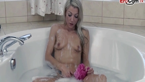 Passionate charming chick rough pussy fucking in bath