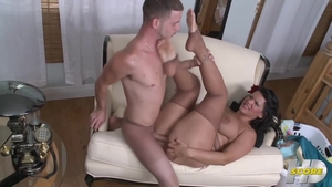 Nailed rough accompanied by thick brunette
