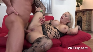 Inked blonde haired in sexy stockings pounding