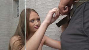 POV nailed rough with shaved brunette Cara Danvers in shower