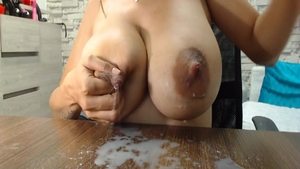Solo busty babe butt fucking