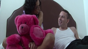 Cumshot in the company of small boobs teen