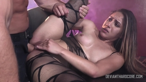 Brunette Liv Revamped rushes hard pounding in stockings in HD