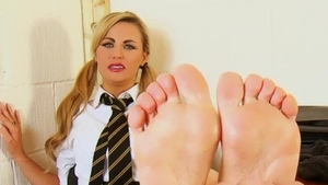 Barefoot spanking along with very kinky british schoolgirl