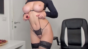 Solo perfect redhead in sexy lingerie smoking