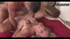 Rough sex in company with huge boobs blonde haired