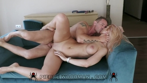 Big butt blonde haired rough cock sucking at casting