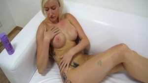 Solo czech blonde finds dick to fuck