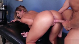 Mature Brooklyn Chase in tight stockings rough cum on face